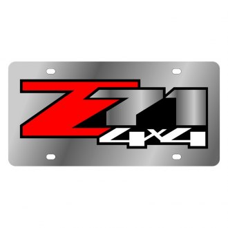 Eurosport Daytona® - GM Polished License Plate with Black Z71 4x4 Logo