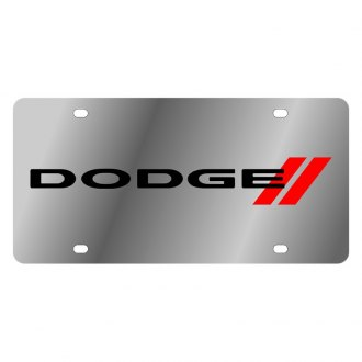 Eurosport Daytona® - MOPAR License Plate with Dodge New Logo and Red Stripes