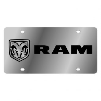 Eurosport Daytona® - MOPAR Polished License Plate with Style 1 Black Ram Logo