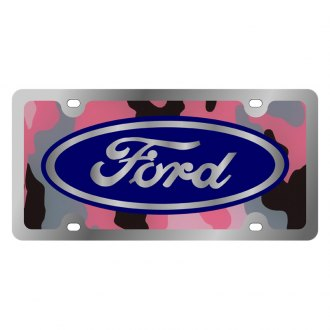 Eurosport Daytona® - Ford Motor Company Pink Camouflage License Plate with Silver Ford Emblem