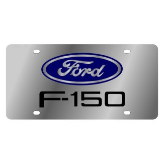 Eurosport Daytona® - Ford Motor Company Polished License Plate with Black F-150 Logo and Ford Emblem