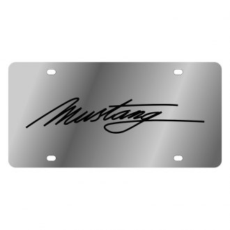 Eurosport Daytona® - Ford Motor Company Polished License Plate with Script Laser Etched Black Mustang Logo