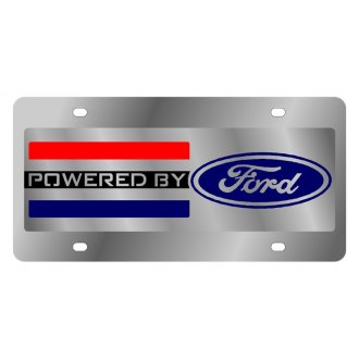 Eurosport Daytona® - Ford Motor Company Polished License Plate with Style 2 Black Powered by Ford Logo