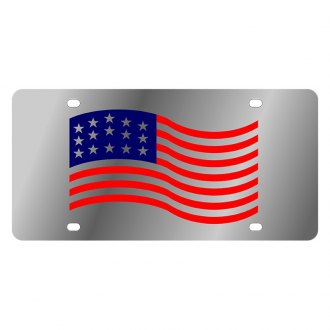 Eurosport Daytona® - LSN Polished License Plate with American Flag Waving Logo