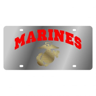 Eurosport Daytona® - LSN Polished License Plate with U.S. Marine Corp arched Logo
