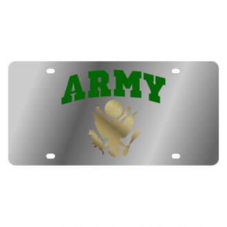 Eurosport Daytona® - LSN Polished License Plate with Army Arched Logo
