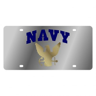 Eurosport Daytona® - LSN Polished License Plate with Navy Arched Logo
