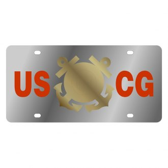 Eurosport Daytona® - LSN Polished License Plate with Coast Guard Logo and Emblem
