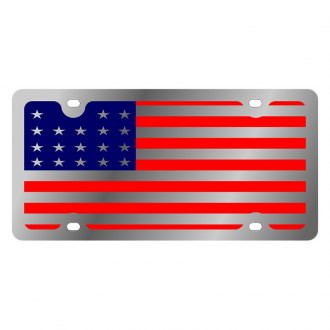 Eurosport Daytona® - LSN Polished License Plate with USA Full Flag Logo