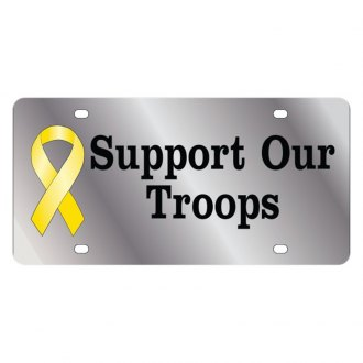 Eurosport Daytona® - LSN Polished License Plate with Support Our Troops Logo