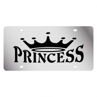 Eurosport Daytona® - LSN Polished License Plate with Princess With Crown Logo