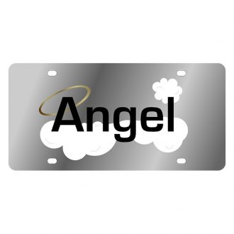 Eurosport Daytona® - LSN Polished License Plate with Angel with Clouds and Halo Logo