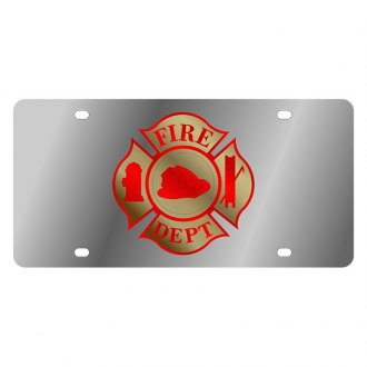 Eurosport Daytona® - LSN Polished License Plate with Fire Department Cross Logo