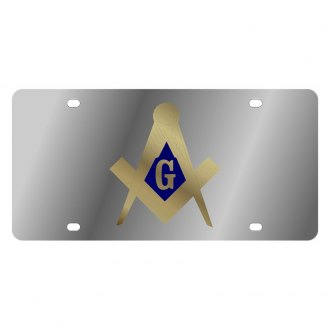 Eurosport Daytona® - LSN Polished License Plate with Masonic Logo
