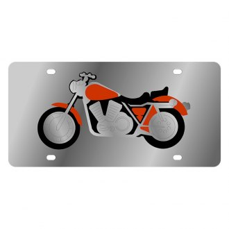 Eurosport Daytona® - LSN Polished License Plate with Motorcycle Logo