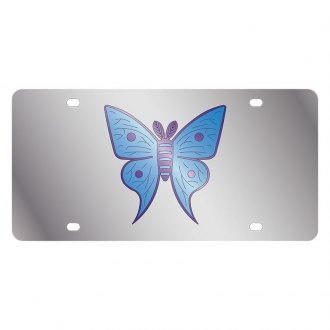 Eurosport Daytona® - LSN Polished License Plate with Butterfly Multicolor Logo