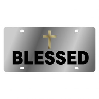 Eurosport Daytona® - LSN Polished License Plate with Christian Blessed Logo