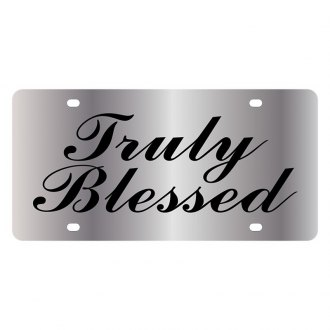 Eurosport Daytona® - LSN Polished License Plate with Christian Truly Blessed Logo