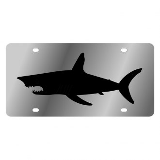 Eurosport Daytona® - LSN Polished License Plate with Black Shark Silhouette Logo