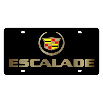 Eurosport Daytona® - GM Lazertag Black License Plate with Gold Escalade Logo and Cadillac Emblem