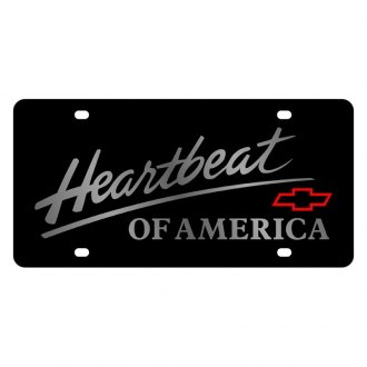 Eurosport Daytona® - GM Lazertag Black License Plate with Silver Heartbeat of America Logo and Chevrolet Emblem