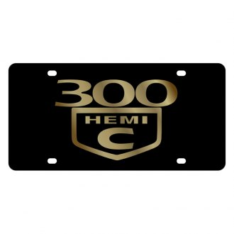 Eurosport Daytona® - MOPAR Lazertag Black License Plate with Gold 300C HEMI Logo