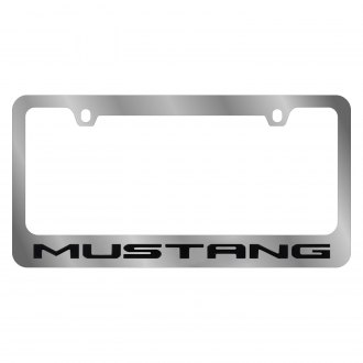 Eurosport Daytona® - Ford Motor Company Chrome License Plate Frame with Style 1 Black Mustang Logo