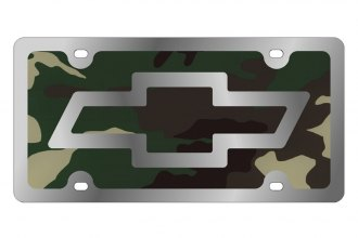 Eurosport Daytona® 1301SLD-3GC - GM Green Camouflage License Plate with Silver Chevrolet Bowtie Logo