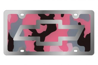Eurosport Daytona® - Silver Chevrolet Bowtie Logo on Pink Camouflage Stainless Steel License Plate