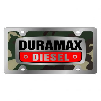 Eurosport Daytona® - GM Green Camouflage License Plate with Silver Duramax Logo