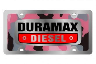 Eurosport Daytona® 1309SLD-3PC - GM - Pink Camouflage License Plate with Silver Duramax Logo