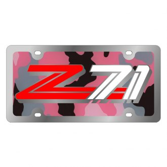 Eurosport Daytona® - GM Pink Camouflage License Plate with Silver Z71 Logo