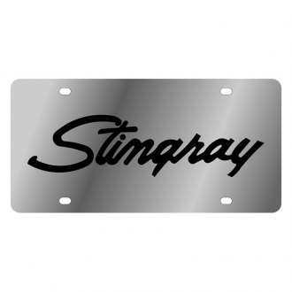 Eurosport Daytona® - GM License Plate with Black Stingray Retro Script Logo