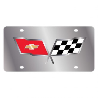 Eurosport Daytona® - GM License Plate with Silver Corvette C3 Flags Logo