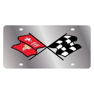 Eurosport Daytona® - GM License Plate with Corvette C2 Nostalgia Flags Logo