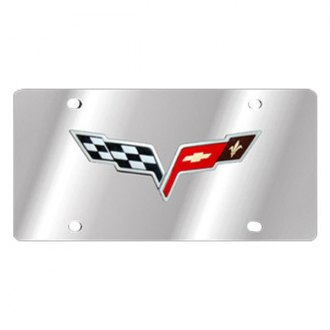 Eurosport Daytona® - GM License Plate with Black Corvette C6 Flags Logo
