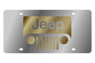 Eurosport Daytona® - MOPAR License Plate with Gold New Jeep Grill Logo