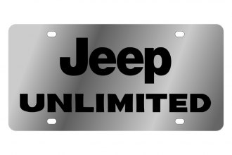 Eurosport Daytona® - MOPAR License Plate with Black Jeep Unlimited Logo