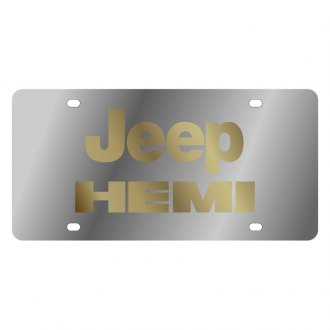 Eurosport Daytona® - MOPAR License Plate with Gold Jeep Hemi Logo