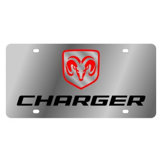 Eurosport Daytona® - MOPAR License Plate with Black Dodge Charger Logo
