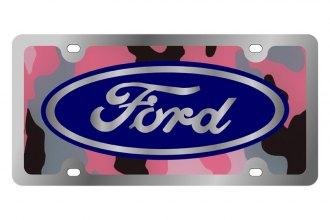 Eurosport Daytona® 1501SLD-3PC - Ford Motor Company Pink Camouflage License Plate with Silver Ford Logo