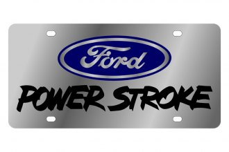 Eurosport Daytona® - Black Power Stroke Logo on Stainless Steel License Plate