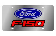 Eurosport Daytona® - Red Ford F-150 Logo on Stainless Steel License Plate