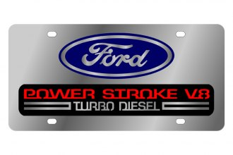 Eurosport Daytona® - Ford Motor Company License Plate with Black Power Stroke V8 Logo