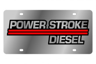 Eurosport Daytona® 1509-2 - Ford Motor Company License Plate with Gold Power Stroke Diesel Logo