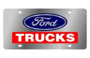 Eurosport Daytona® - Black Ford Trucks Logo on Stainless Steel License Plate