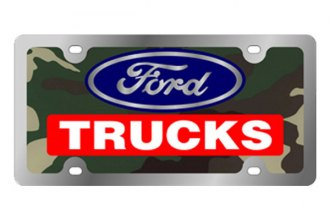 Eurosport Daytona® - Ford Motor Company - Green Camouflage License Plate with Silver Ford Trucks Logo