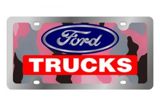 Eurosport Daytona® - Ford Motor Company - Pink Camouflage License Plate with Silver Ford Trucks Logo