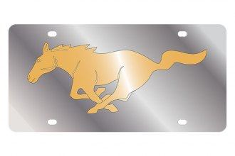 Eurosport Daytona® 1520-2 - Ford Motor Company License Plate with Gold Mustang Logo