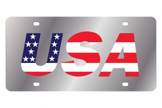 Eurosport Daytona® - LSN License Plate with USA red white and blue with stars and stripes Logo